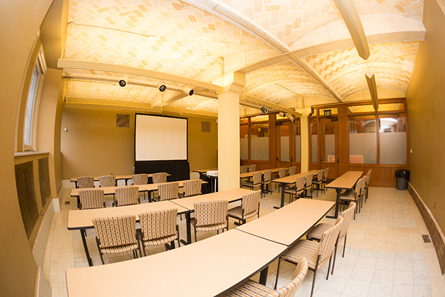 View of the seating in the orientation room