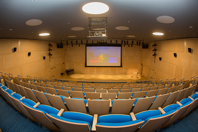 Photo of Rabb Hall, view of the stage