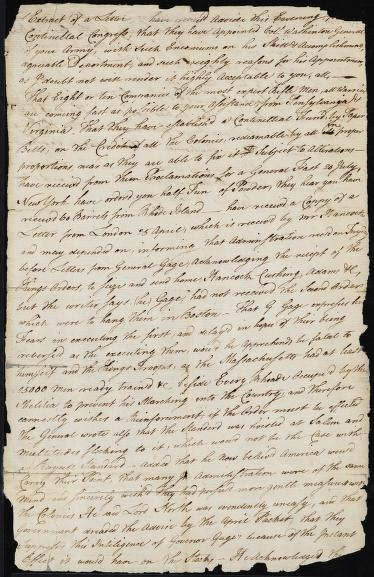"""The beginning of the letter reads, """"…have receiv'd advice this evening from the Continental Congress, that they have appointed Col. Washington General of your army…"""" The letter continues to discuss the transition that will occur following George Washington's appointment."""