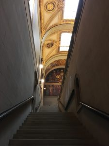 A sandstone stairway leads to the Sargent Gallery on the third floor of the McKim Building.