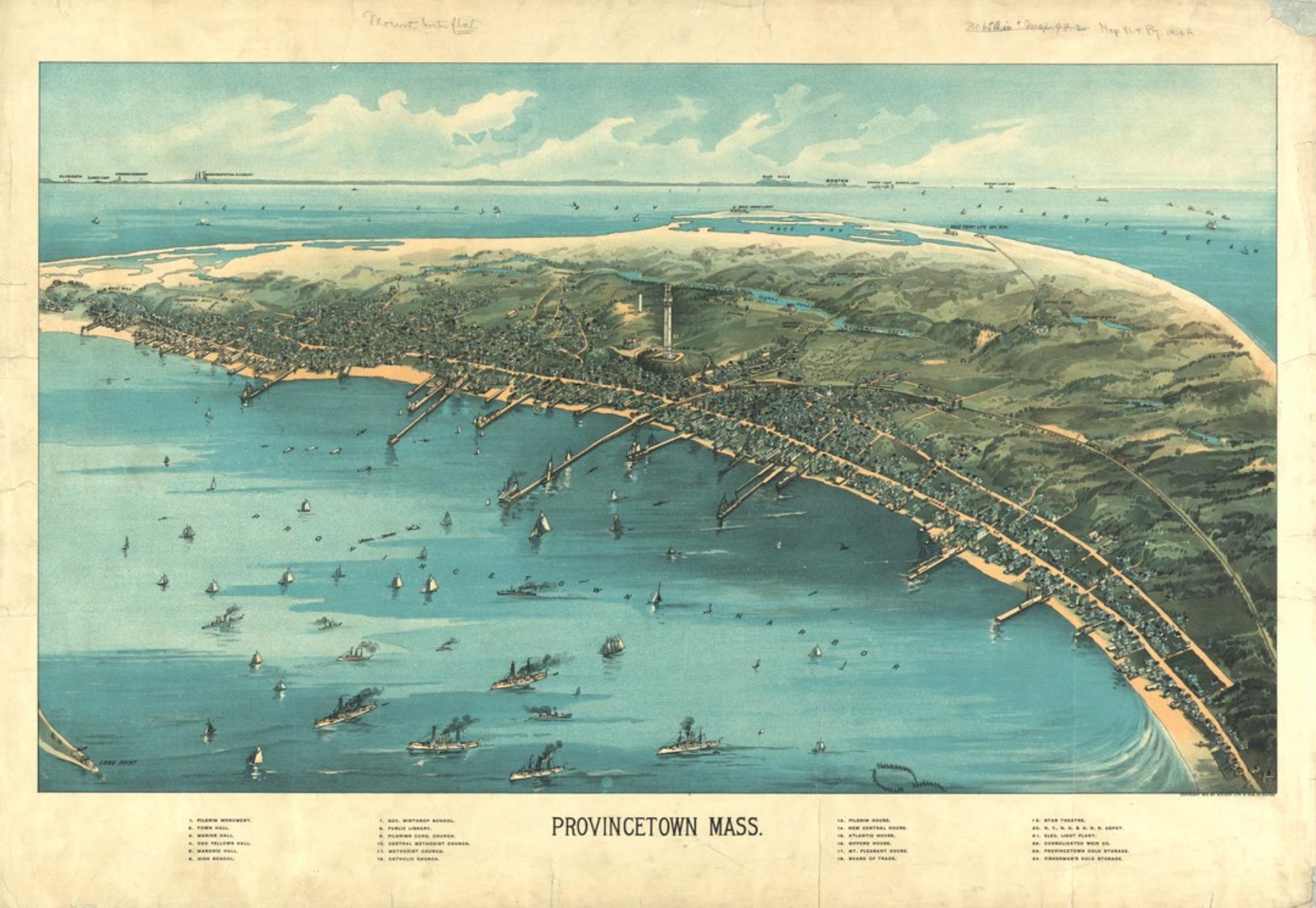 Bird's-eye view of Providence, MA.