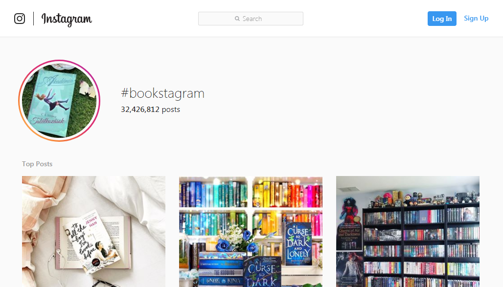 A screenshot of popular Instagram posts tagged with the hashtag #bookstagram on the social media site Instagram.com