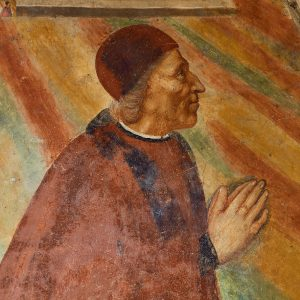 Above, a portrait of Giuliano Guizzelmi in his chapel in the Prato Cathedral.