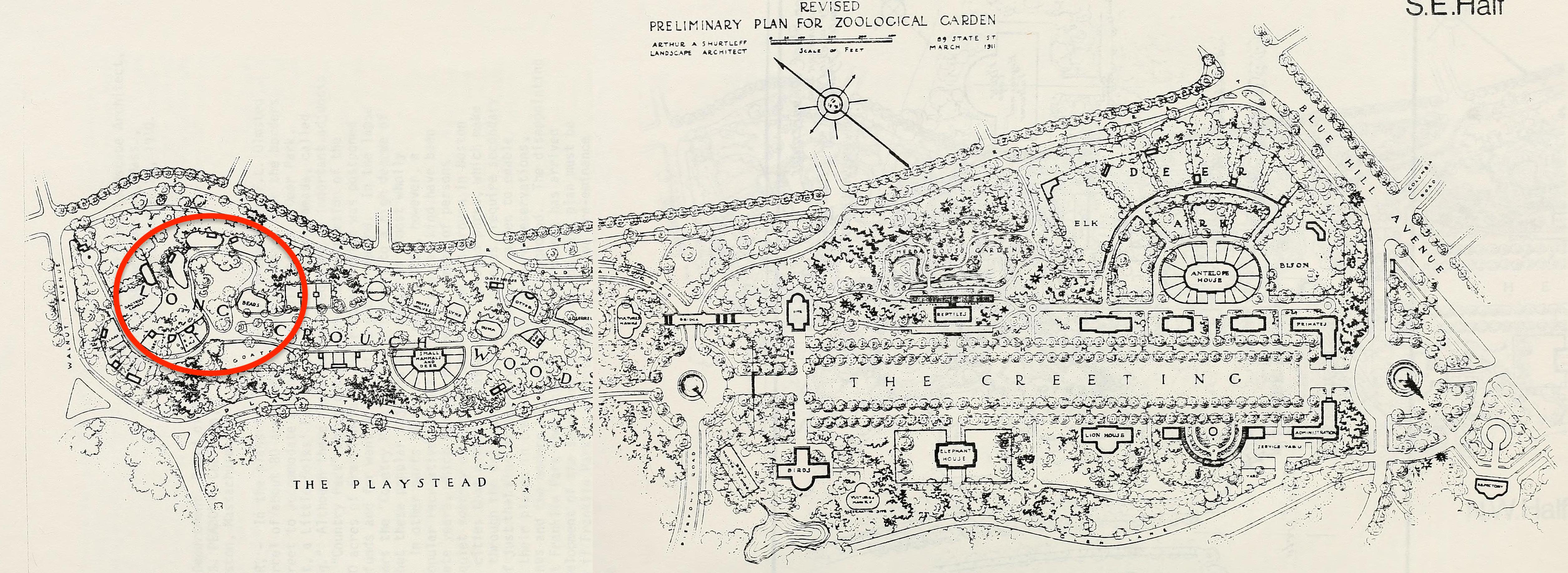 Arthur Shurtleff's 1911 plan for the Franklin Park Zoo, showing the location of the bear enclosures in the northwest portion.
