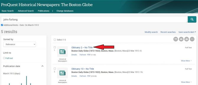 Image of search results page in Boston Globe database, with arrow pointing out where to click to access an article.