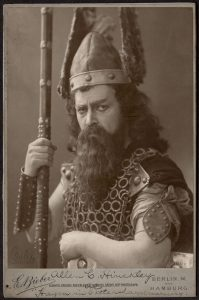 Portrait of a performer in a viking warrior costume.