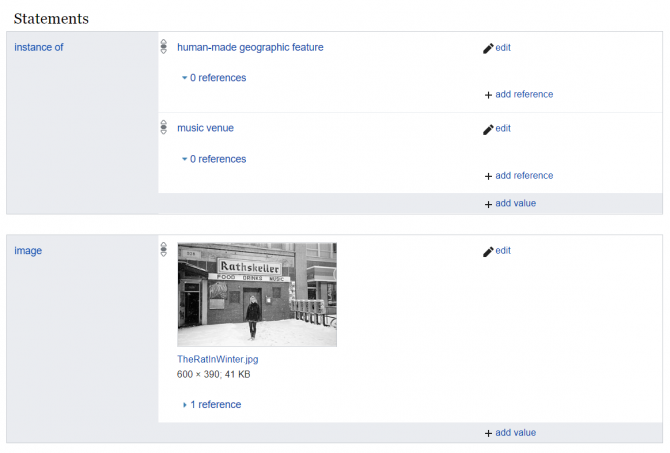 """Screenshot of Wikidata statements about the Rathskeller. The first two statements, both using the property """"instance of"""", point to two other Wikidata items, """"human-made geographic feature"""" and """"music venue"""". The third statement uses the property """"image"""" and shows a thumbnail of a linked black-and-white photograph depicting a person standing in front of the Rat in winter."""